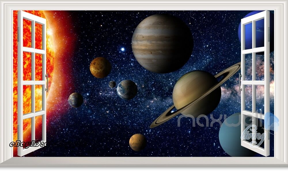 Solar system planet sun 3d window wall decals kids decor for Decoration 3d sol