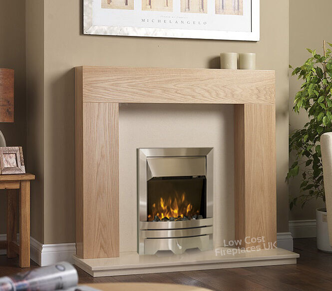 SOLID OAK ELECTRIC SURROUND CREAM MARBLE WALL MODERN FIRE ...