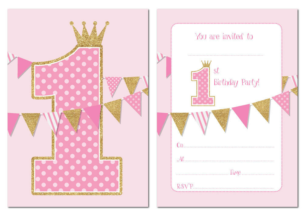 Details About First Birthday Party Invitations Pink With Gold Glitter Effect Pack Of 24