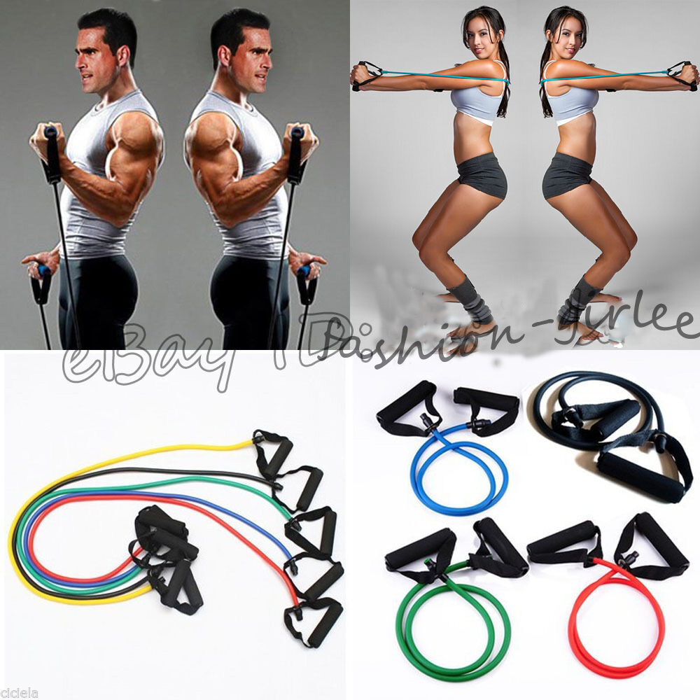 Resistance Bands Workout On: 1X Fitness Equipment Resistance Bands Tube Workout