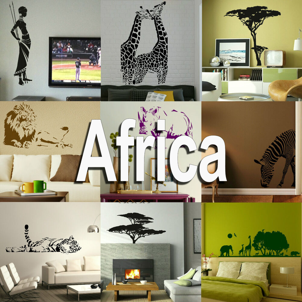 africa wall sticker home vinyl transfer african graphic art decal decor stencils ebay. Black Bedroom Furniture Sets. Home Design Ideas