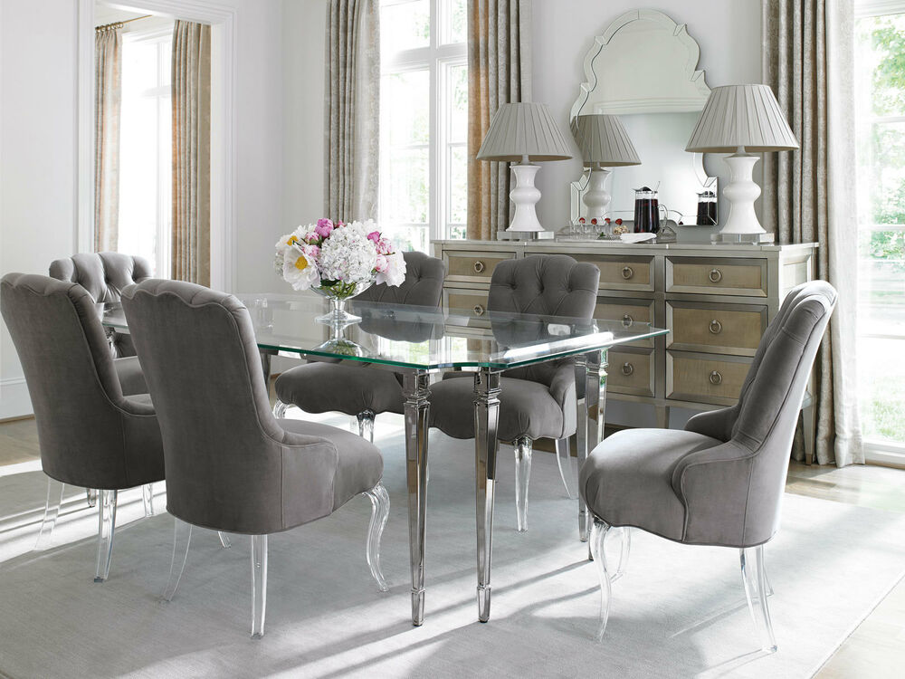 helen 7pcs traditional glass top rectangular silver dining room table chairs set ebay. Black Bedroom Furniture Sets. Home Design Ideas