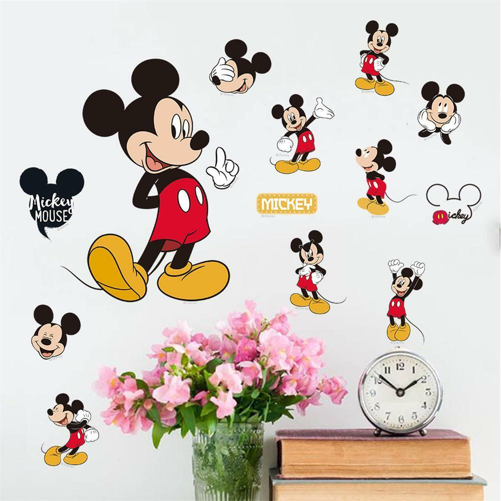 mickey minnie mouse kids room decor disney wall sticker cartoon wall decals art ebay. Black Bedroom Furniture Sets. Home Design Ideas
