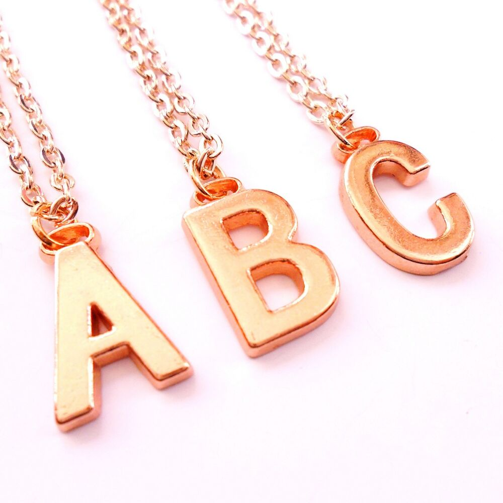 Alphabet Jewelry: Rose Gold Initial Necklace, Personalised Alphabet Letter Pendant Chain Plated UK