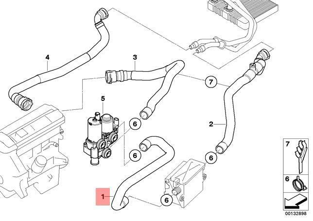 Genuine Bmw E83n Hose Heater Control Valve And Flow Heater Oem