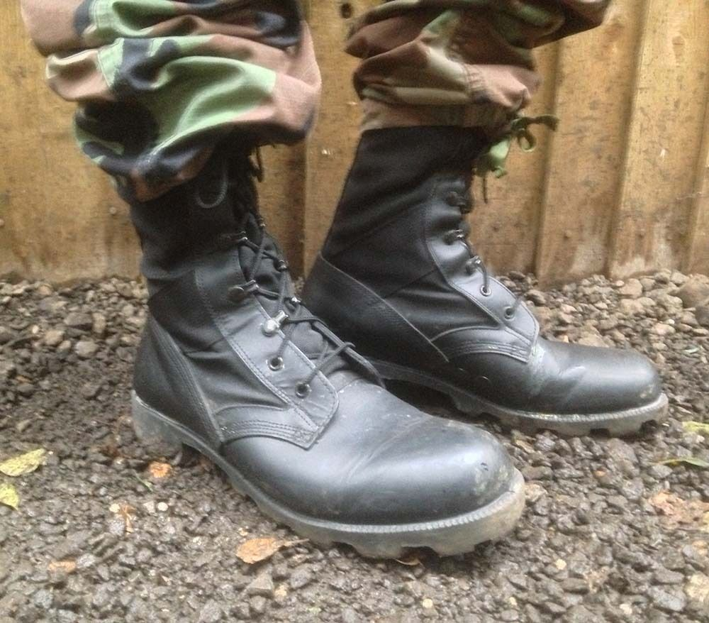 UK BRITISH ARMY SURPLUS BLACK WELLCO JUNGLE COMBAT BOOTS,LEATHER ...