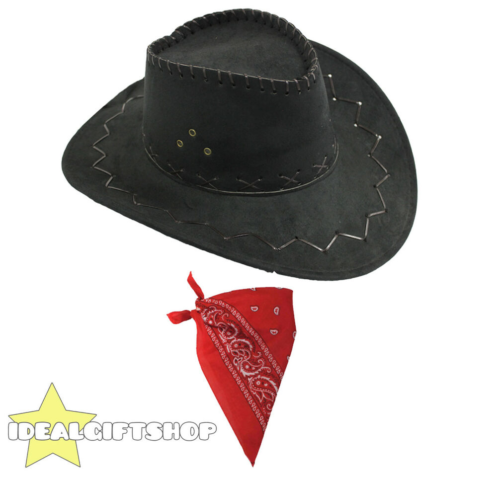 Details about BLACK FAUX SUEDE COWBOY HATS AND RED PAISLEY BANDANA WESTERN  COSTUME ACCESSORY 5ec5827e076