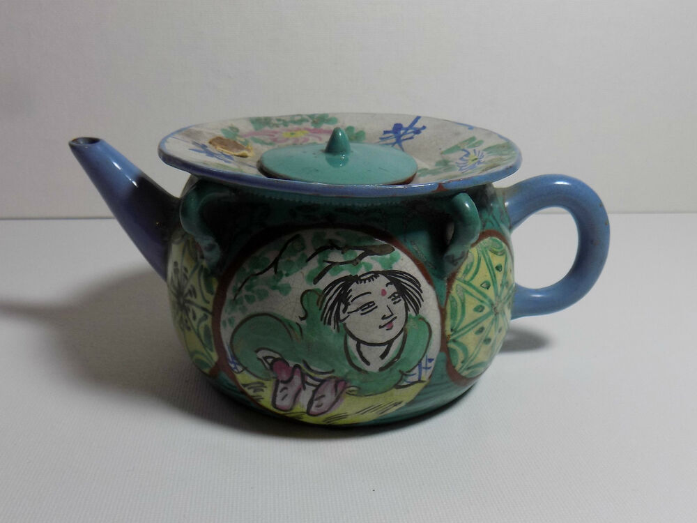 Vintage Chinese Yixing Teapot Enamel All Over Unusual Rim