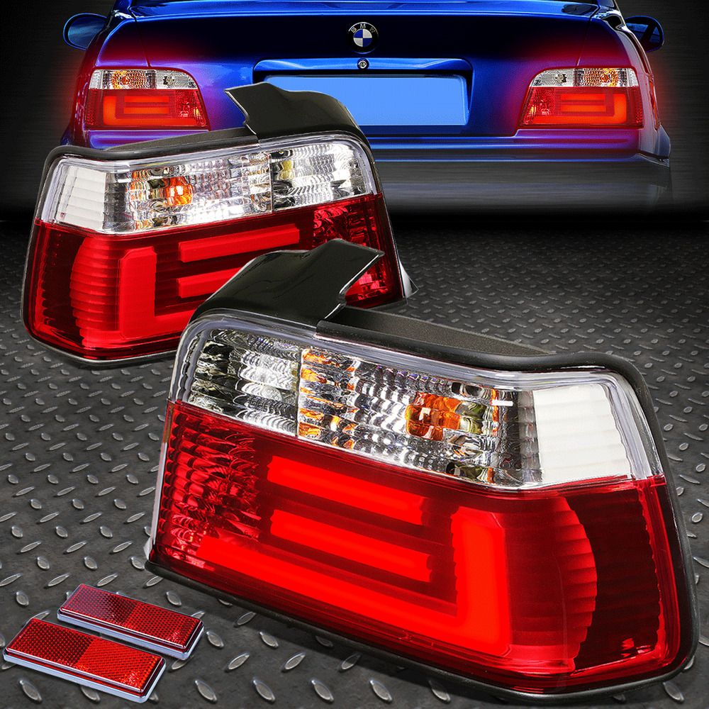 CHROME RED 3D LED BAR BRAKE+SIGNAL TAIL LIGHT FOR 92-98 ...