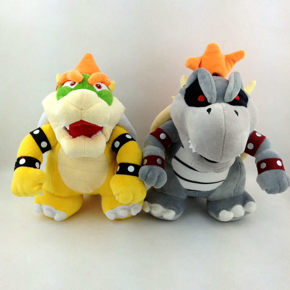 2X Super Mario Bros King Koopa Dry Bowser Bones Soft Plush ...