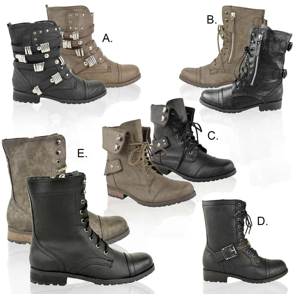 Ladies Biker Boots Womens Army Military Worker Flat Low -2043