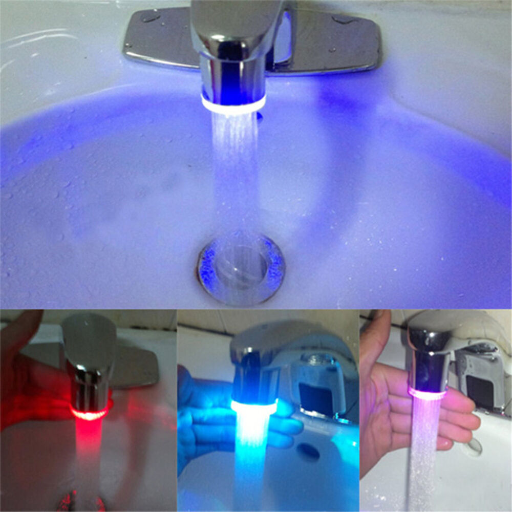 3 color rgb glow automatic temperature sensor shower led - Bathroom faucets with led lights ...