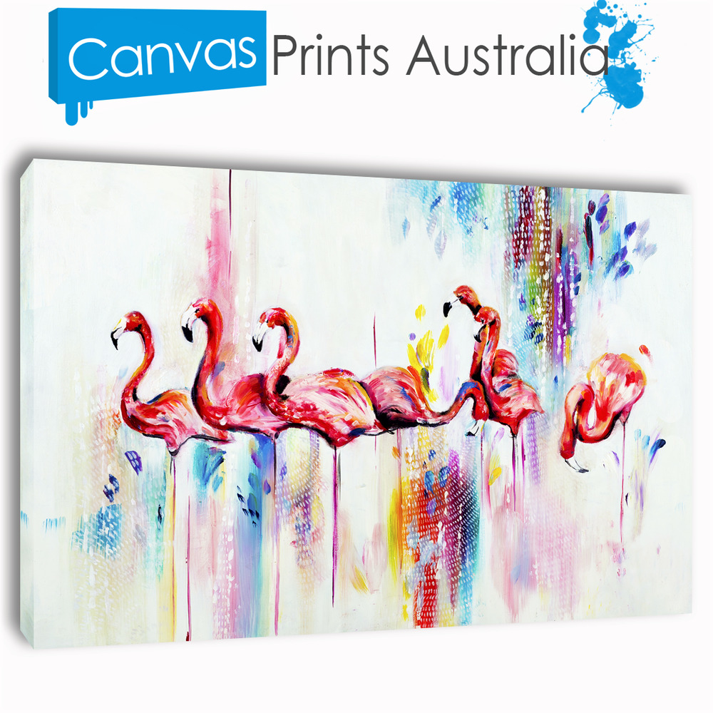 Flamingo Painting Stretched Canvas Prints Wall Art Abstract Different Sizes Ebay