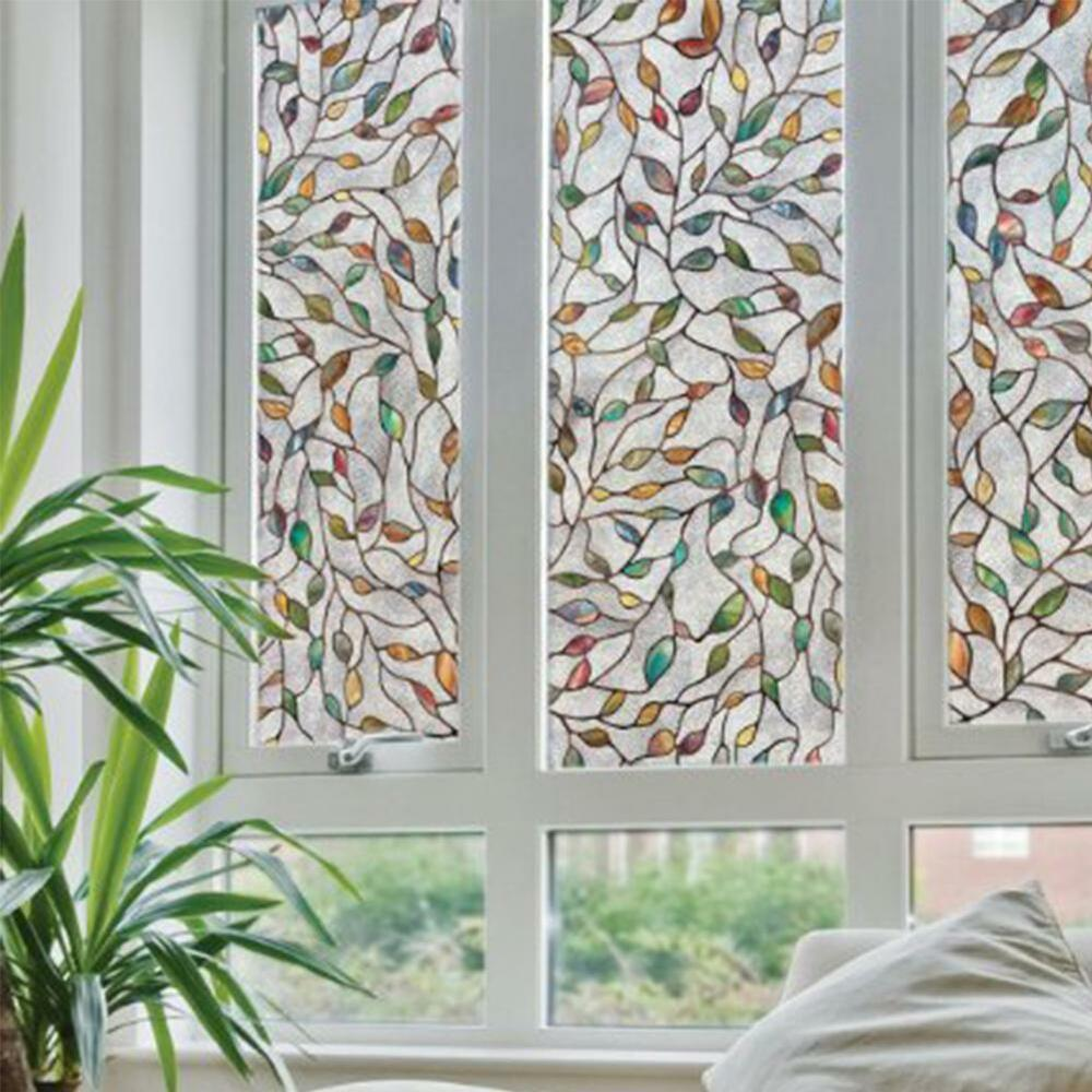 3d leaf static cling stained glass window film window for Glass decorations for windows