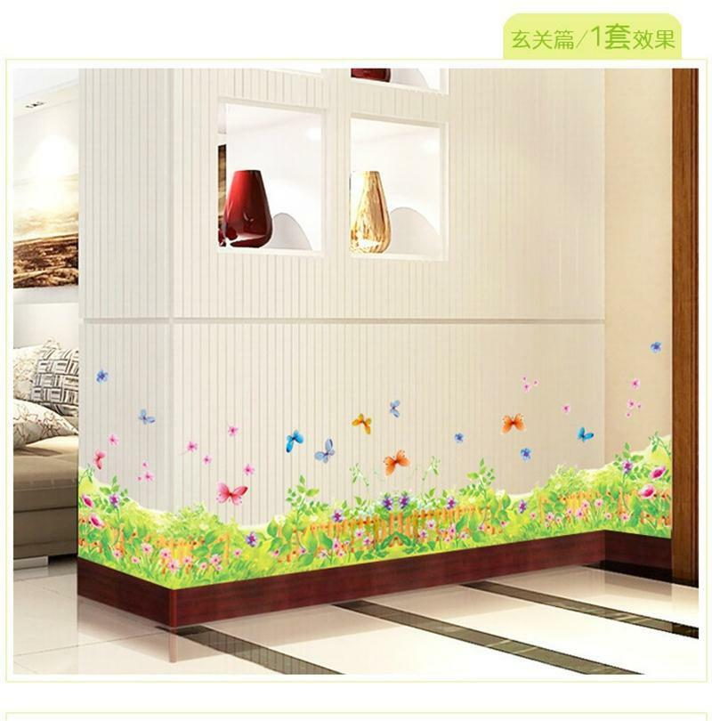 Colorful leaves flower butterfly border decor bedroom wall sticker wall decals ebay - Flower wall designs for a bedroom ...