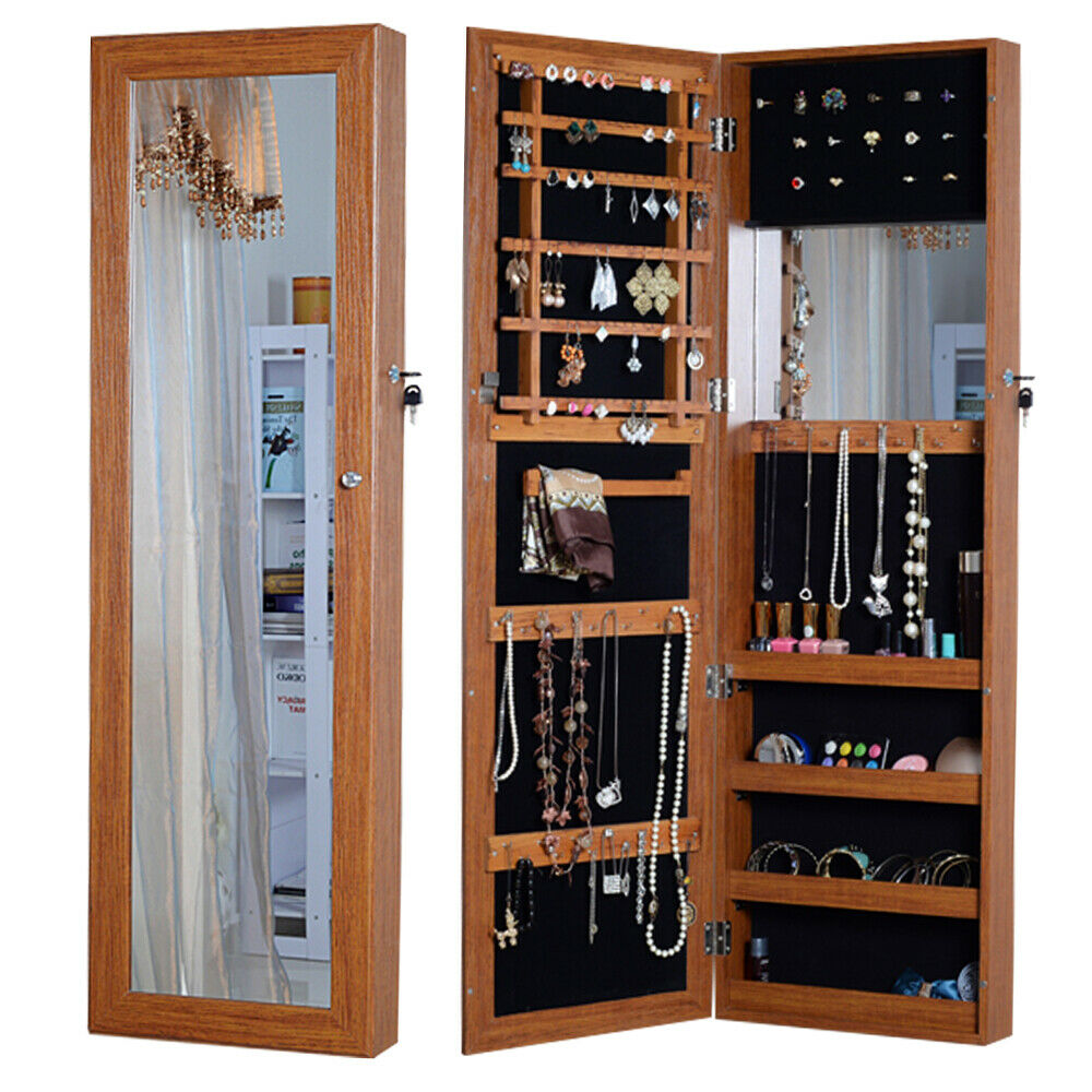 Oak mirrored jewelry armoire cabinet with lock wall door for Mirror jewelry cabinet