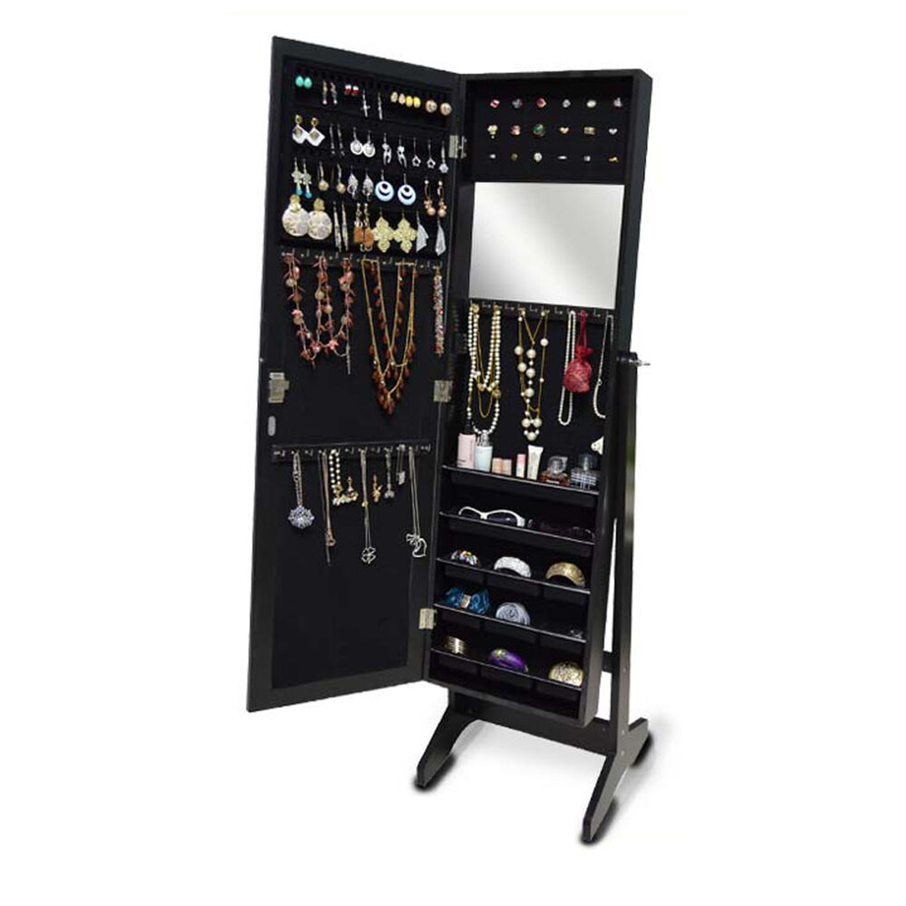Black mirrored jewelry armoire cabinet organizer box stand for Mirror jewelry storage