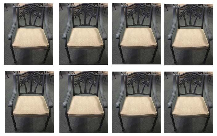 8 Palm Tree Patio Dining Chairs Outdoor Cast Aluminum