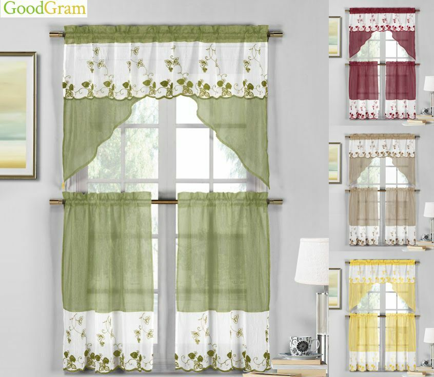 Country Embroidered Strawberry Kitchen Curtain Tier & Swag