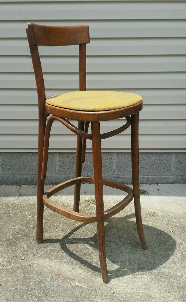 Rare Antique Bent Wood Cafe Chair Thonet Vtg Mid Century