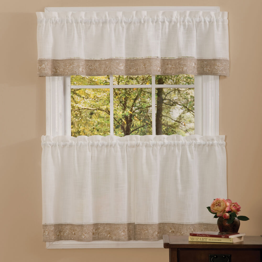Oakwood Linen Style Kitchen Window Curtains Tiers Or