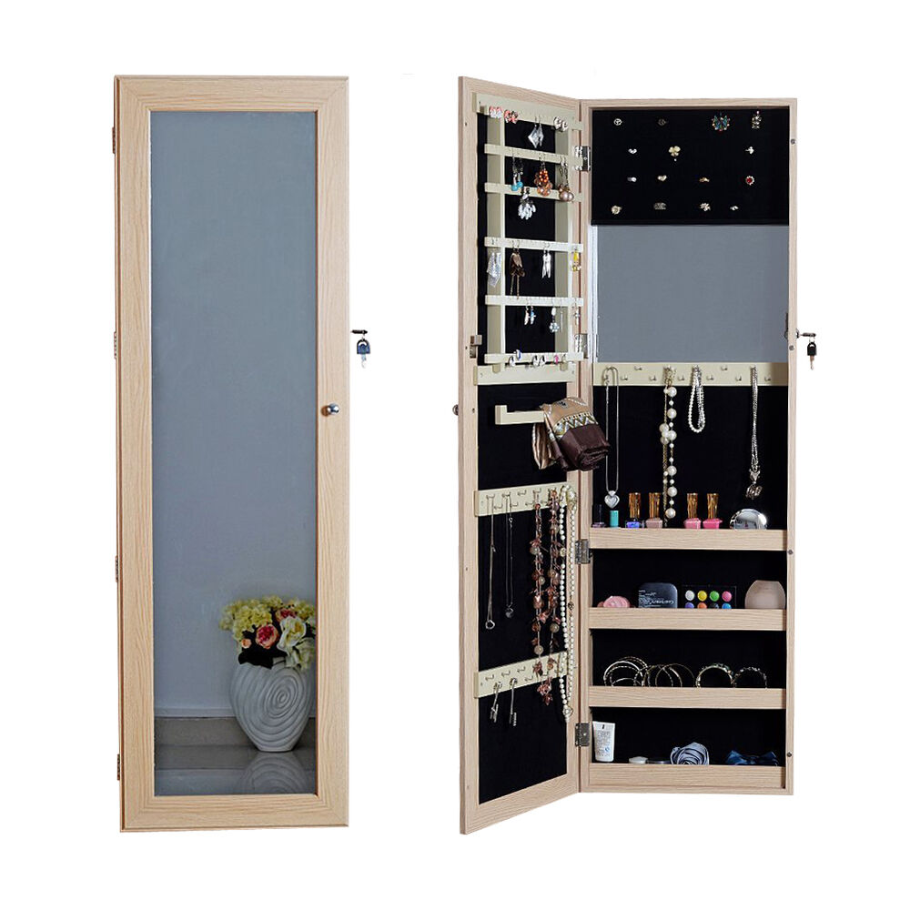 Full length mirror jewelry armoire cabinet chest with lock for Mirror jewelry cabinet