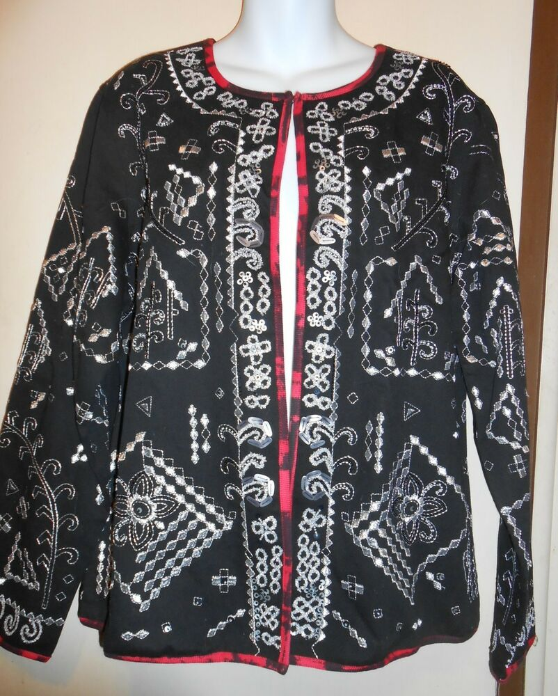 Notations Ladies Dressy Embroidered Jacket Black U0026 Silver Large (L) NWT | EBay