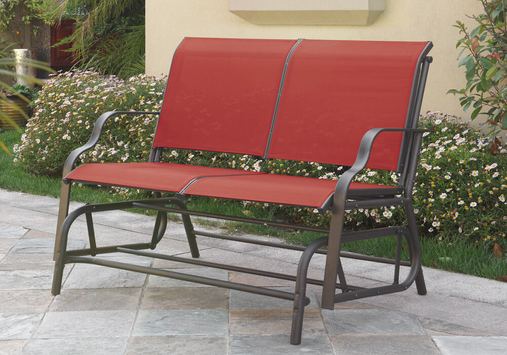 Outdoor Patio Yard Glider Loveseat 2 Seat Bench Red Synthetic Fabric Mesh  Beige | EBay