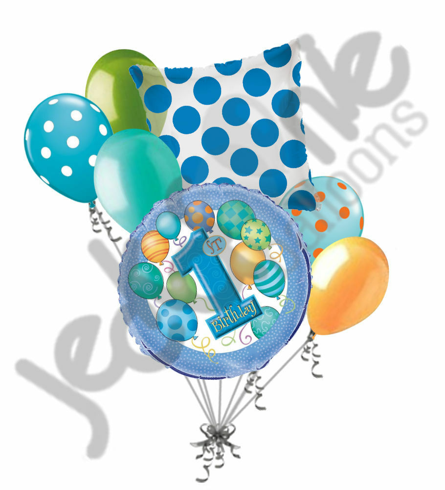 7 Pc 1st Blue Happy Birthday Balloon Bouquet Party