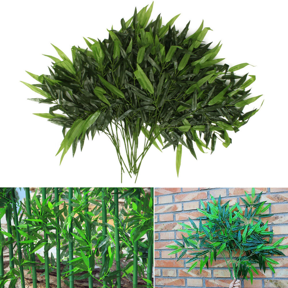 Two Become One Decorative Trees: New 2 X Artificial Bamboo Leaf Plants Plastic Tree
