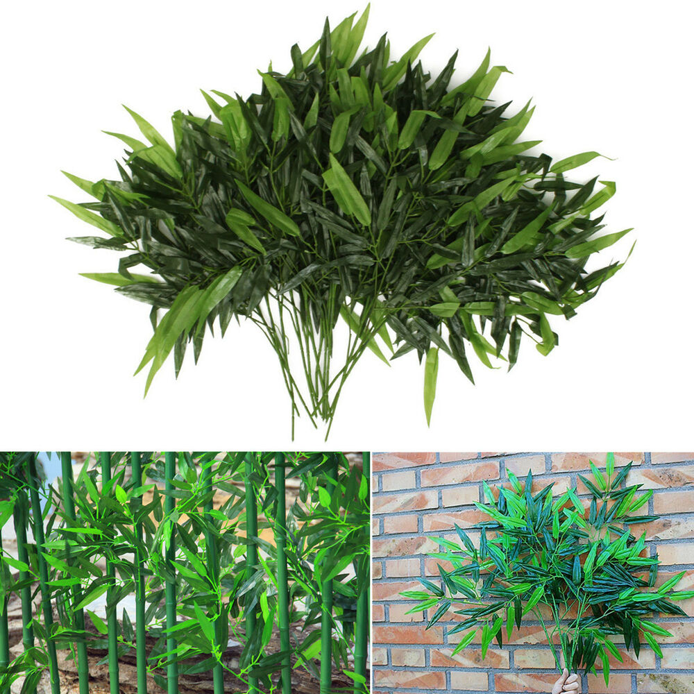 Leaves Decoration: New 2 X Artificial Bamboo Leaf Plants Plastic Tree
