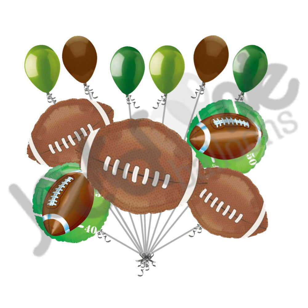 11 Pc Football Field Balloon Bouquet Decoration Foot Ball