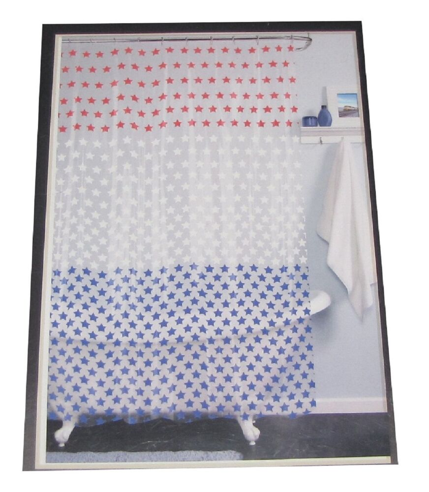 India Ink Americana Patriotic Red White Blue Stars Shower