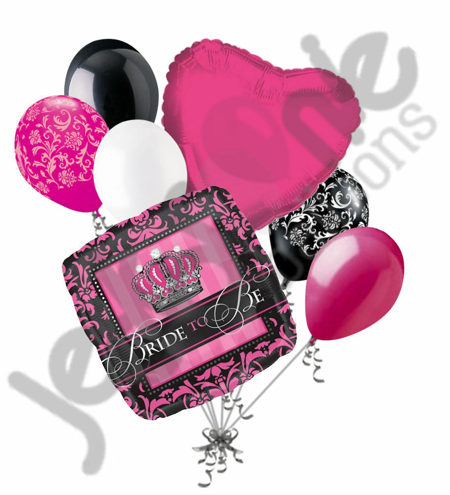 7 Pc Black & Hot Pink Damask Bride To Be Balloon Bouquet
