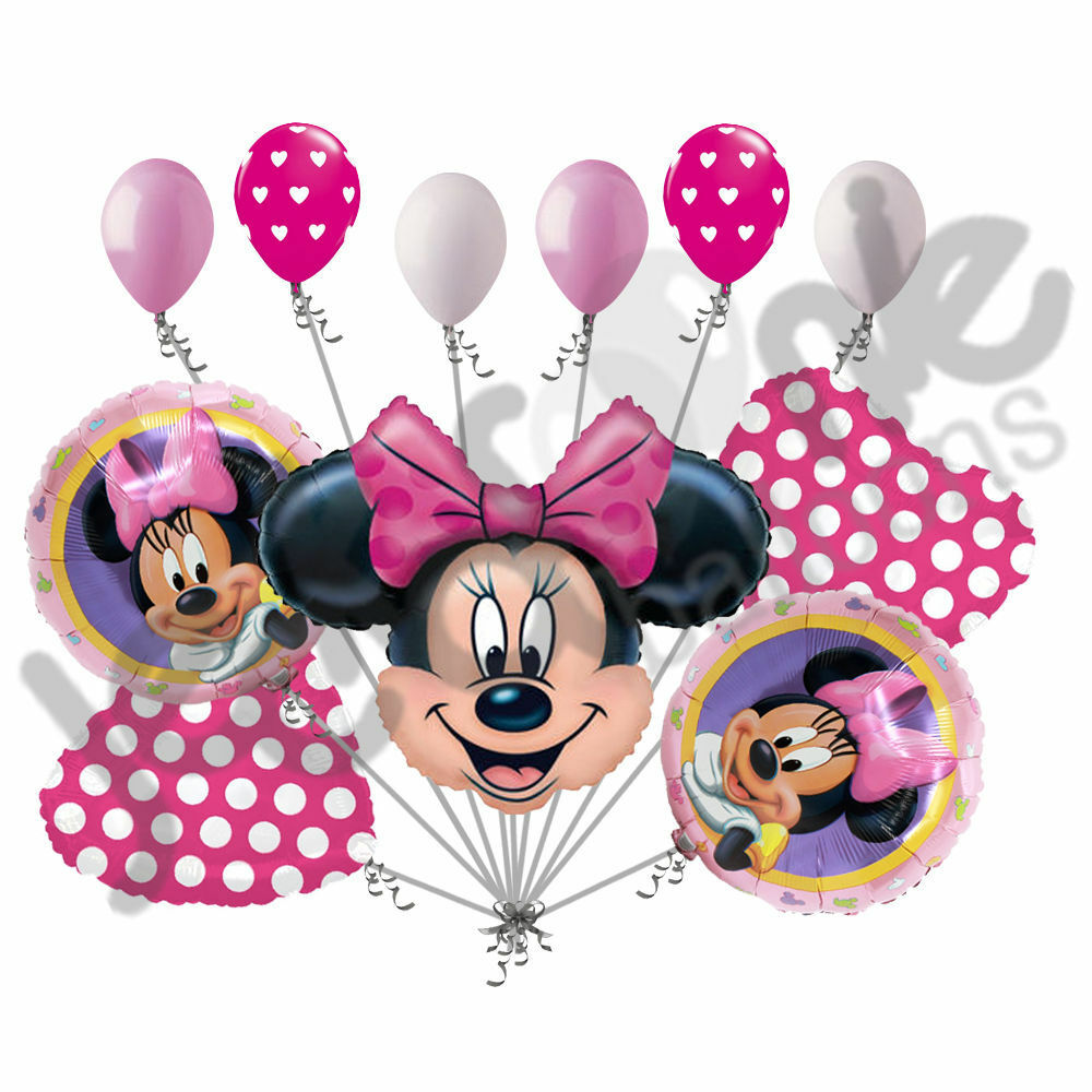 11 pc minnie mouse happy birthday balloon bouquet for Balloon decoration minnie mouse