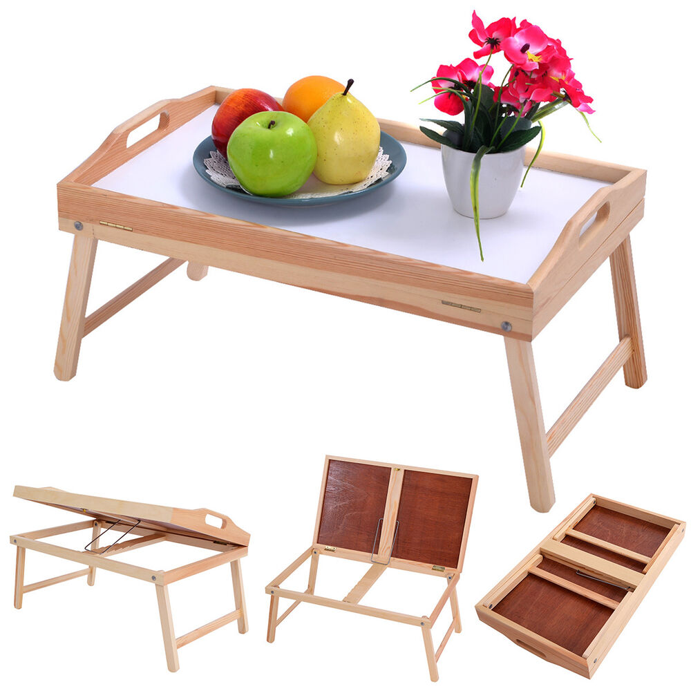 New wood bed tray breakfast laptop desk food serving