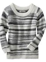 OLD NAVY Black Gray White Striped Cropped Sweater XL 16 18 NEW NWT FREE SHIP