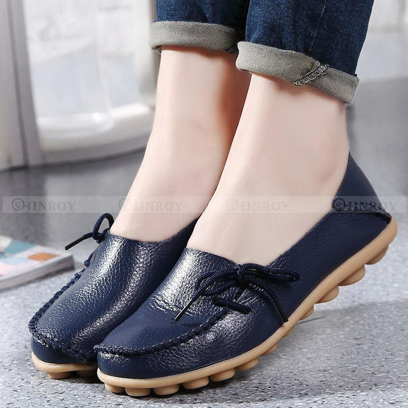Womens Casual Leather Comfort Walking Bowed Flat Shoes ...