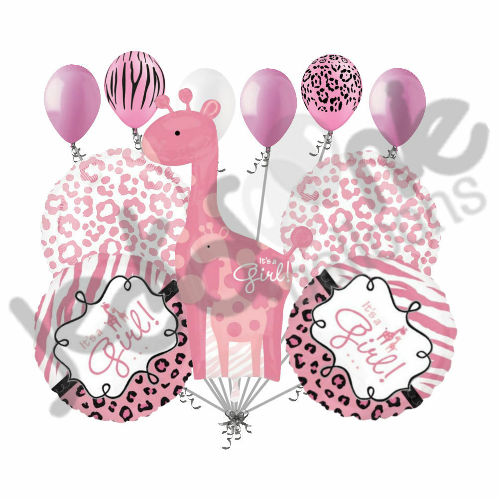 11pc Sweet Safari Baby Girl Giraffe Balloon Decoration