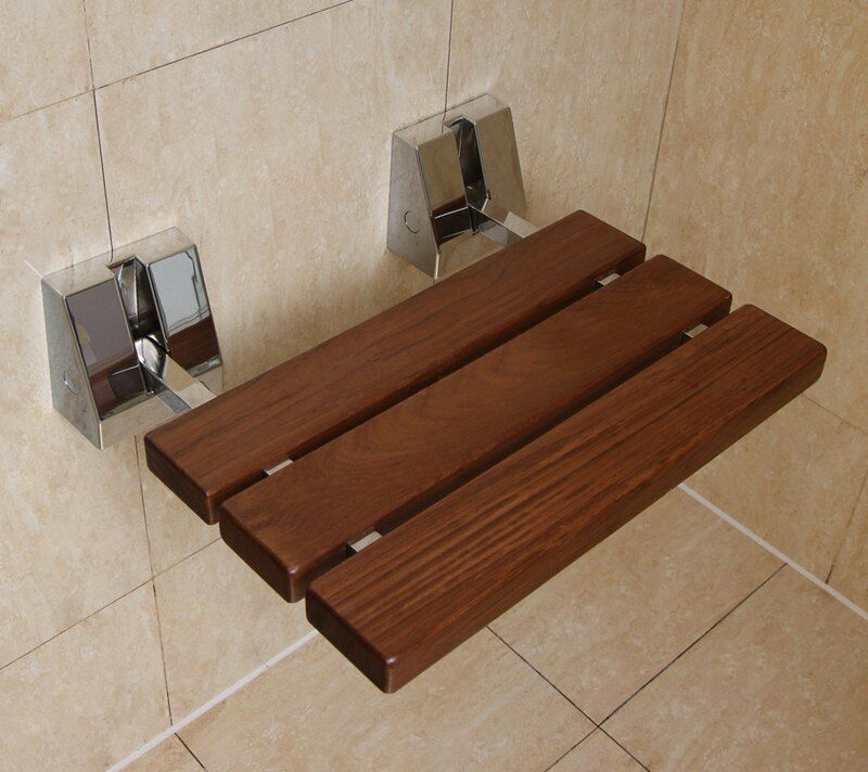 Folding Shower Seat Wall Mounted Solid Wood Teak