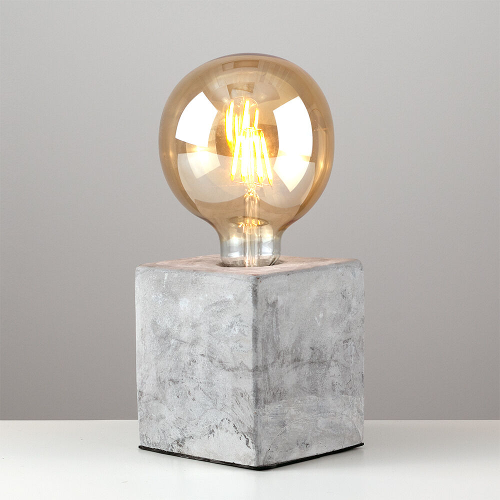 Battery Operated Edison Bulb Lamp: Industrial Style Concrete / Cement Cube Edison Table Lamp