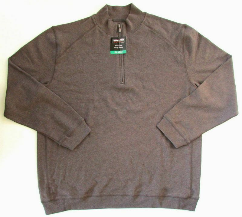 NEW Kirkland Signature Men/'s Cotton 1//4 Zip Pullover Brown Heather L 864742