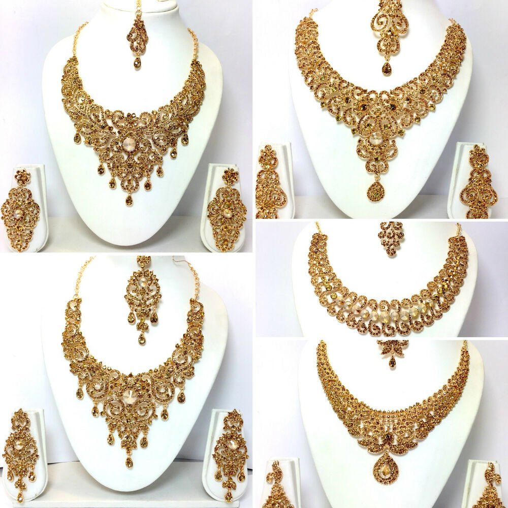 New Necklace Earring Set Gold Polki Jewellery Indian: New Necklace Earring Set Head Piece Jewellery Indian
