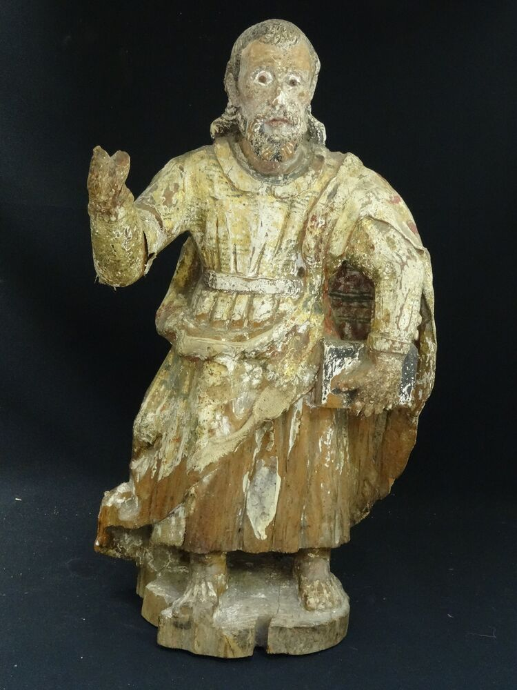 Antique mexican hand carved wood santos polychrome