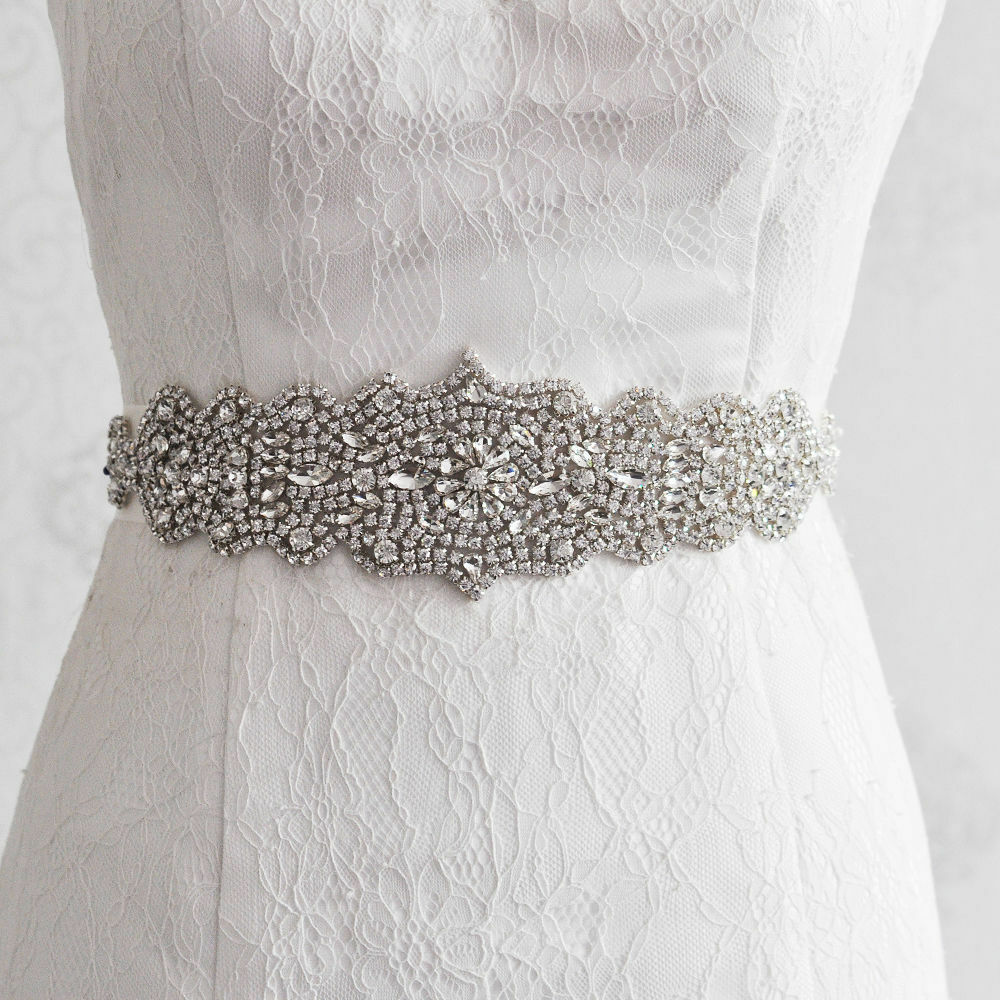Rhinestone ivory sash belt for bridal gown crystal wedding for Sparkly belt for wedding dress