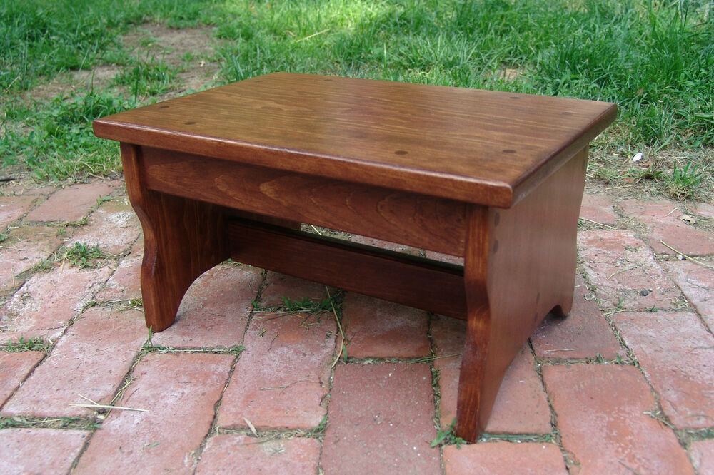 Handcrafted Heavy Duty Wood Step Stool Bedside Bed