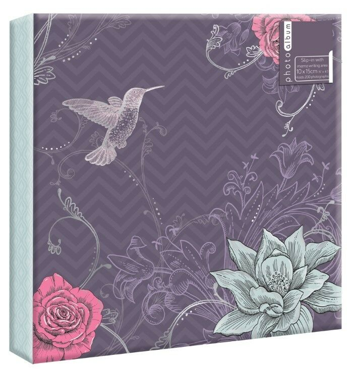 purple flowers photo album 200 4x6 104 5x7 80 4x6 photos or self adhesive ebay. Black Bedroom Furniture Sets. Home Design Ideas