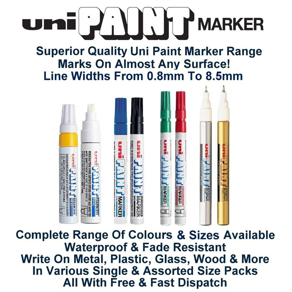 Uni colour oil paint marker pen metal glass wood plastic for Uni paint marker