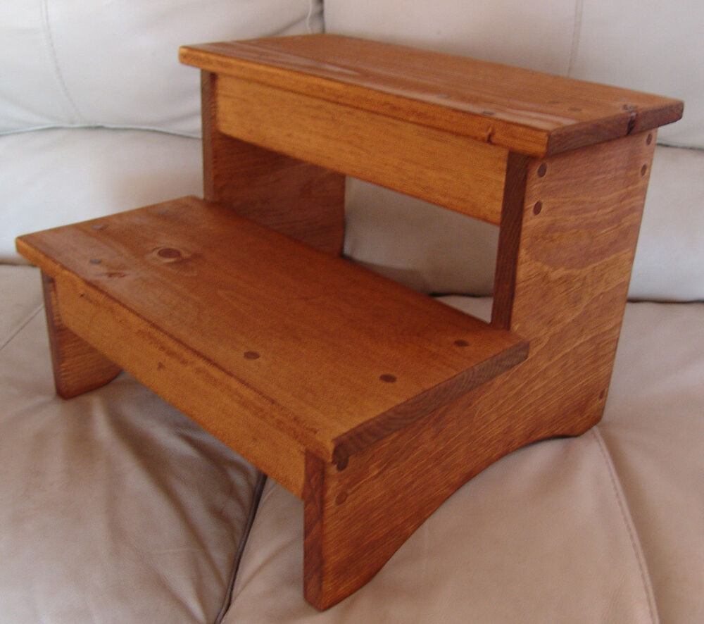 Handcrafted Heavy Duty Step Stool Wood Bedside Bedroom Kitchen Kids Md Oak Stain Ebay