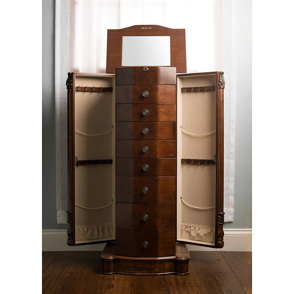 louis xvi walnut armoire storage cabinet chest stand jewelry organizer necklace ebay. Black Bedroom Furniture Sets. Home Design Ideas